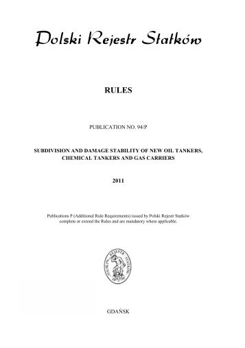 Publication No. 94/P - Subdivision and Damage Stability of ... - PRS