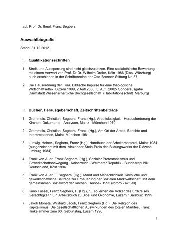 Auswahlbibliographie 2012 - Prof. Dr. Franz Segbers