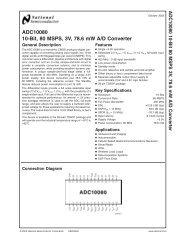 ADC10080 10-Bit, 80 MSPS, 3V, 78.6 mW A/D Converter