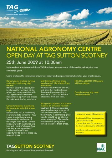 national agronomy centre open day at tag sutton scotney - HGCA