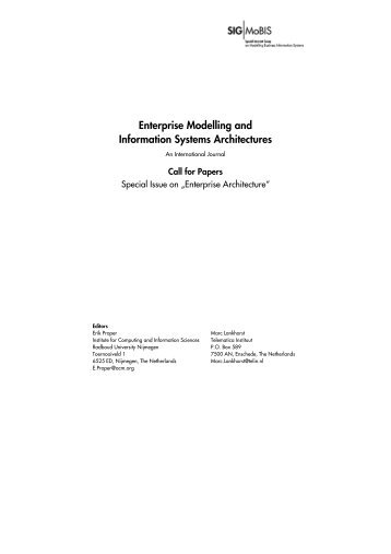 Enterprise Modelling and Information Systems Architectures