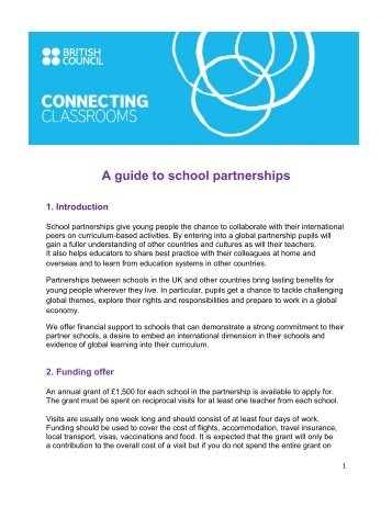 A guide to school partnerships - British Council Schools Online