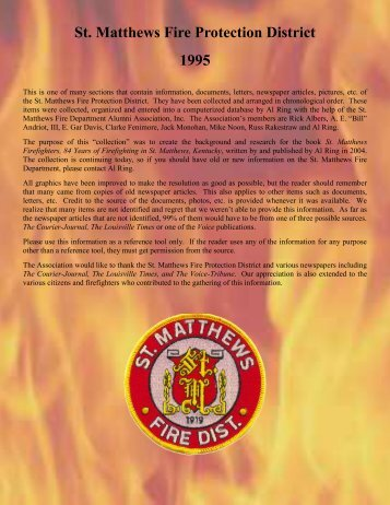 St. Matthews Fire Protection District 1995 - RingBrothersHistory.com