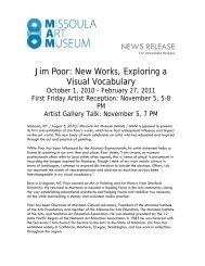 New Works, Exploring a Visual Vocabulary - Missoula Art Museum