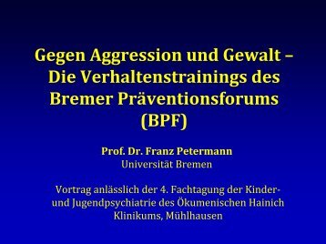 Verhaltenstraining für Schulanfänger - Universität Bremen
