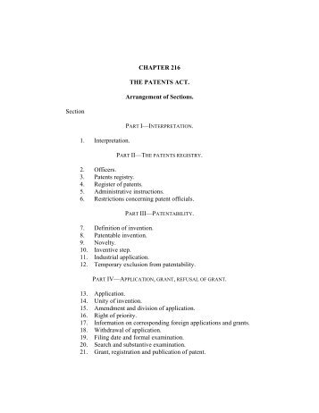UG004: Patents (Chapter 216), Act, 15/10/1993
