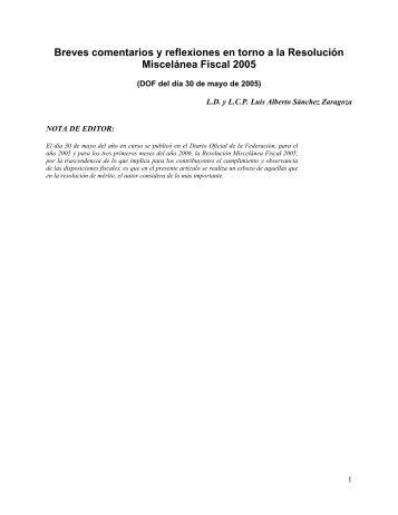 Breves comentarios y reflexiones en torno a la Resolución ... - Indetec