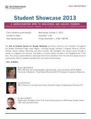 Student Showcase 2013 - The Arts and Cultural Council for Greater ...