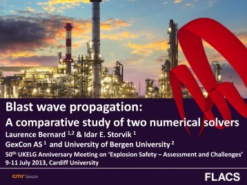 Blast wave propagation: a comparative study of two ... - ukelg