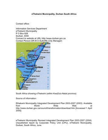 eThekwini Municipality, Durban South Africa Contact office ...
