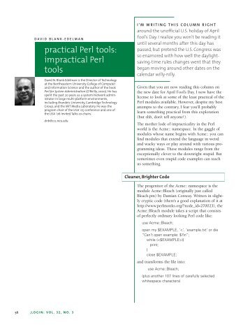 practical Perl tools: impractical Perl tools