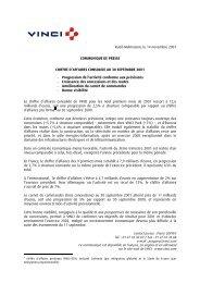 Chiffre d'affaires consolide au 30 septembre 2001 - Vinci