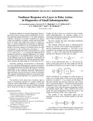 Nonlinear response of a layer to pulse action in diagnostics of small ...