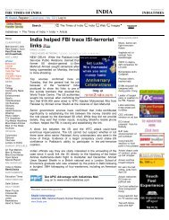 India helped FBI trace ISI-terrorist links - UCI Cognitive Sciences