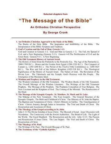The Message Of The Bible - Holy Scriptures - The ROAC of America ...