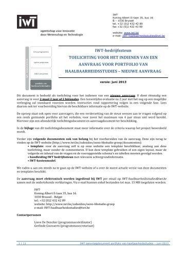 Toelichting aanvraag portfolio HS (pdf) - IWT