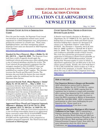 litigation clearinghouse newsletter - American Immigration Council