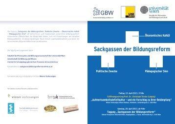 Sackgassen der Bildungsreform - Universität Wien