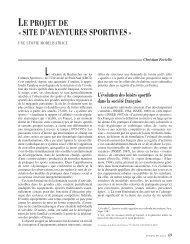 le projet de « site d'aventures sportives - Annales de la Recherche ...