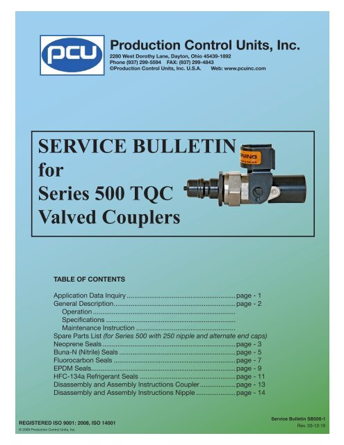 Service Bulletin for Series 500 tQc valved couplers