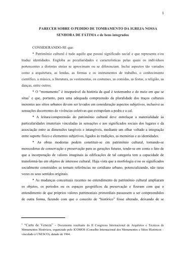 Parecer final Igreja Nossa Senhora de Fátima - Prefeitura Municipal ...