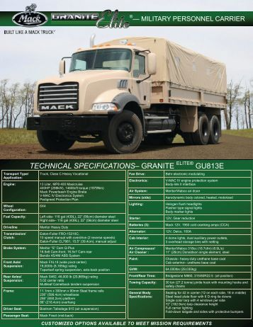 Granite Personnel Carrier GU813E tan - Mack Defense