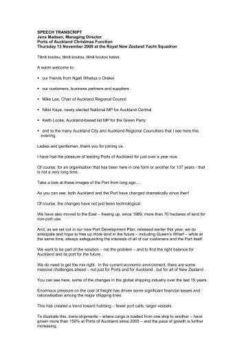 Download speech transcript - Ports of Auckland