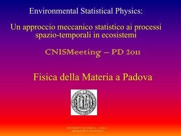Un approccio meccanico statistico ai processi spazio-temporali in ...