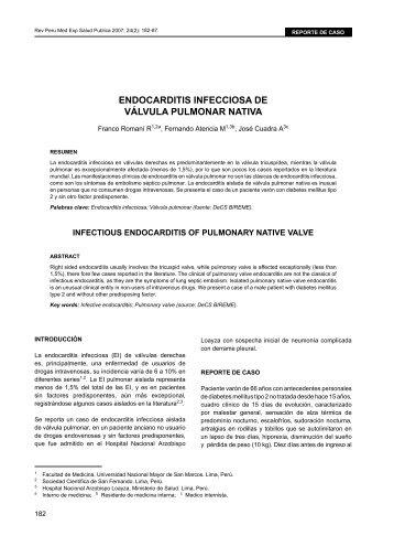 eNDoCaRDITIS INFeCCIoSa De VÁLVULa PULMoNaR ... - SciELO