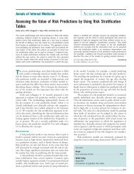 Assessing the Value of Risk Predictions - SF Coordinating Center ...