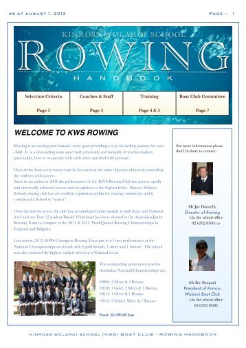 Rowing Welcome MST@ AUG 1 2012 - Kinross Wolaroi School