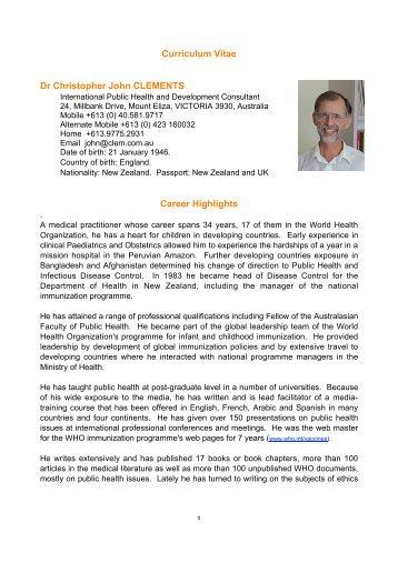 curriculum vitae dr christopher john clements career highlights