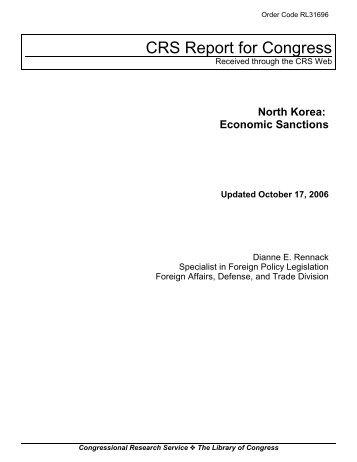 North Korea: Economic Sanctions - North Korean Economy Watch