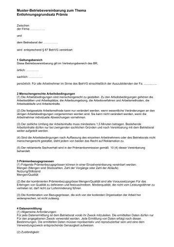 muster betriebsvereinbarung als pdf br wiki - Muster Betriebsvereinbarung