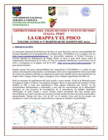espirituosos del viejo mundo y nuevo mundo italia–perú la grappa y ...