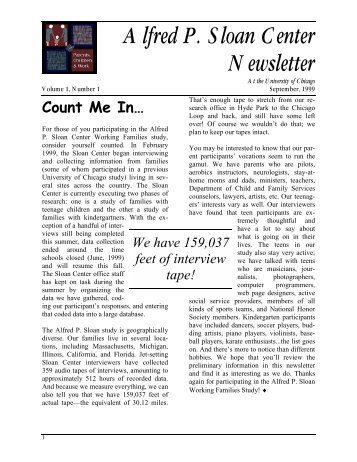 September 1999 Newsletter - The Alfred P. Sloan Center on Parents ...