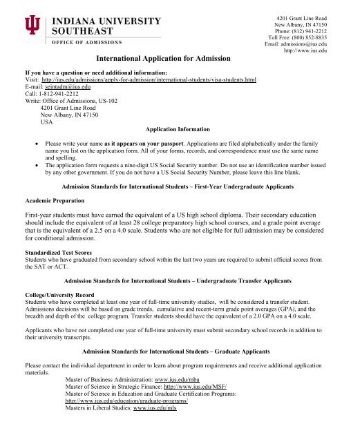 International Application for Admission - Indiana University Southeast