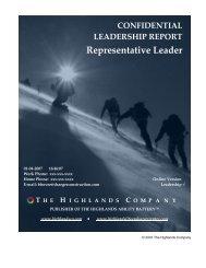 Representative Leader - The Highlands Company