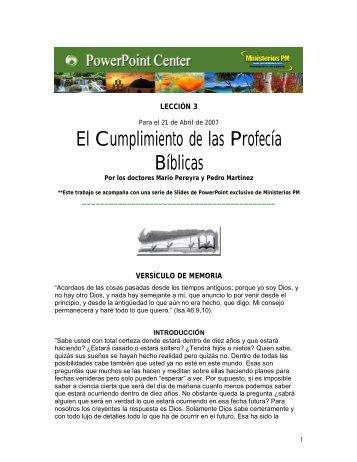 Cumplimiento de las profecias biblicas - Ministerios PM