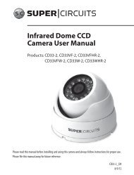 Infrared Dome CCD Camera User Manual - Supercircuits Inc.