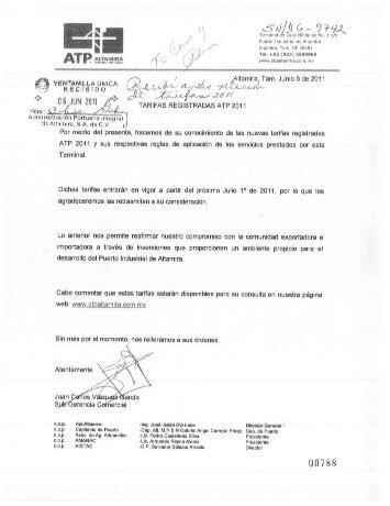 I) Tarifa Máxima (ATP) - Puerto de Altamira