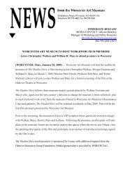 Worcester Art Museum to Host Worldwide Film Premier