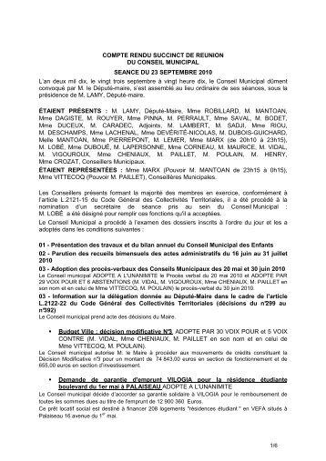 COMPTE RENDU SUCCINCT DE REUNION ... - Ville de Palaiseau