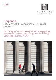 Bribery Act 2010 – introduction for US General Counsel - Nabarro