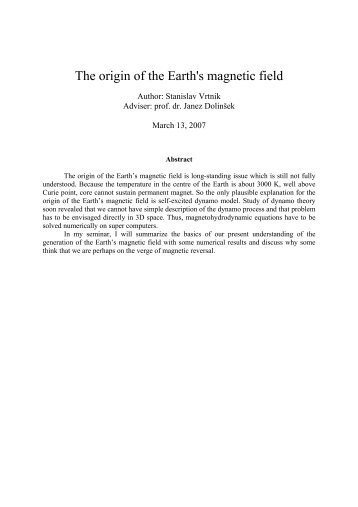 The origin of the Earth's magnetic field - F9
