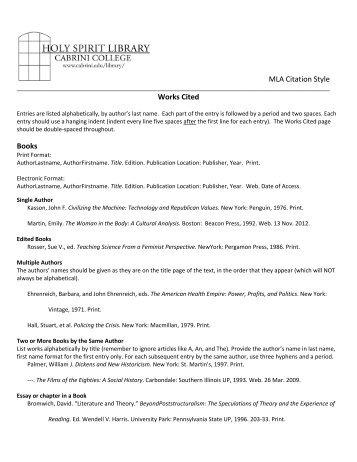 MLA Style Guide - Cabrini College