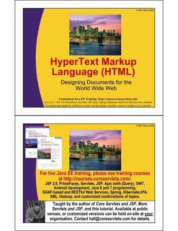 HTML - Custom Training Courses - Coreservlets.com