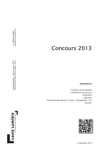 Concours 2013 - Ecole nationale supérieure Louis-Lumière