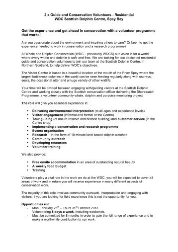 2 x Guide and Conservation Volunteers - Residential WDC Scottish ...