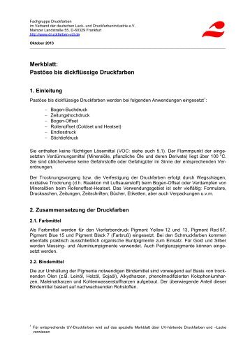 Merkblatt: Pastöse bis dickflüssige Druckfarben - VdL Verband der ...